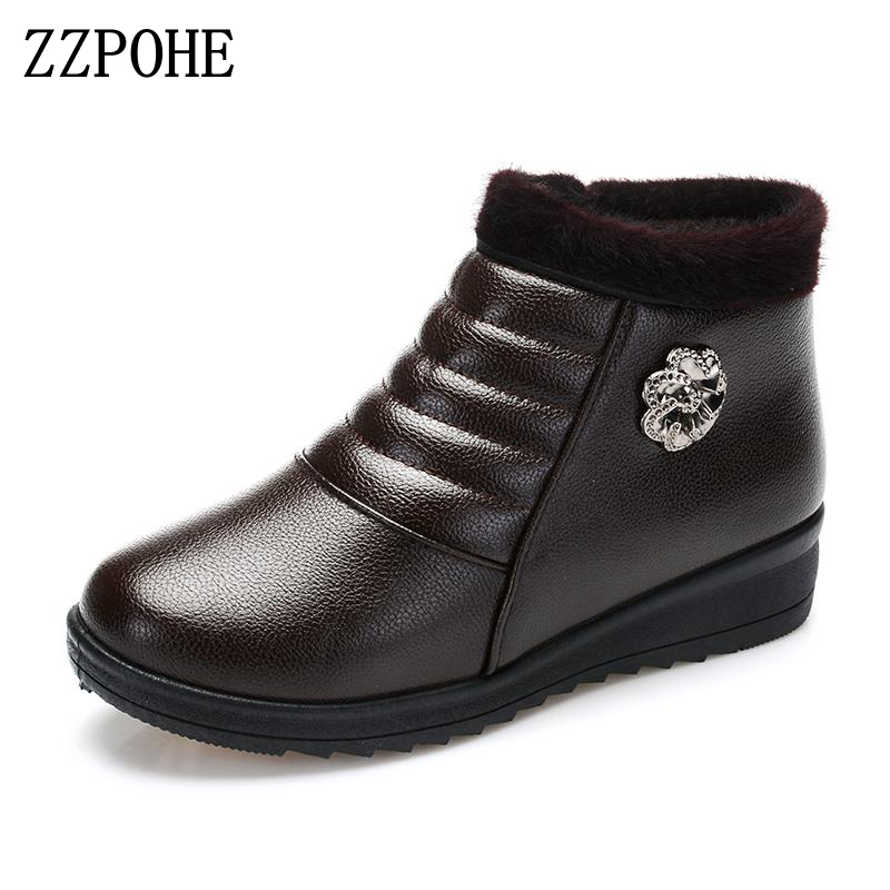 ZZPOHE Women's ankle Boots women winter shoes fashion casual Comfortable warm woman flat snow boots elderly boots free shipping