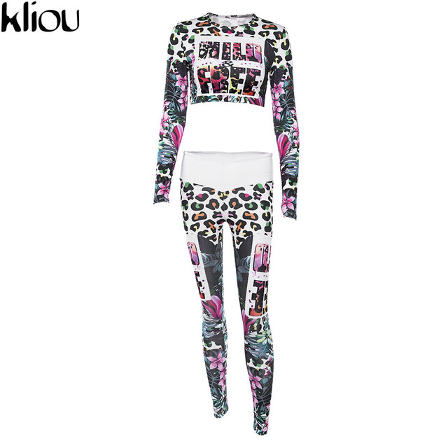 Kliou 2018 Fitness Tracksuit Digital Printed Letters Workout Women Two Pieces Sets Female Sporting Full Sleeve Crop Top Leggings