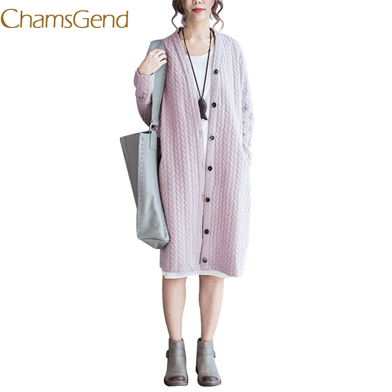Chamsgend 2017 New Autumn Knitted Crochet Women Sweater pink Long Twisted cardigan dress female sweaters cardigan women 77#
