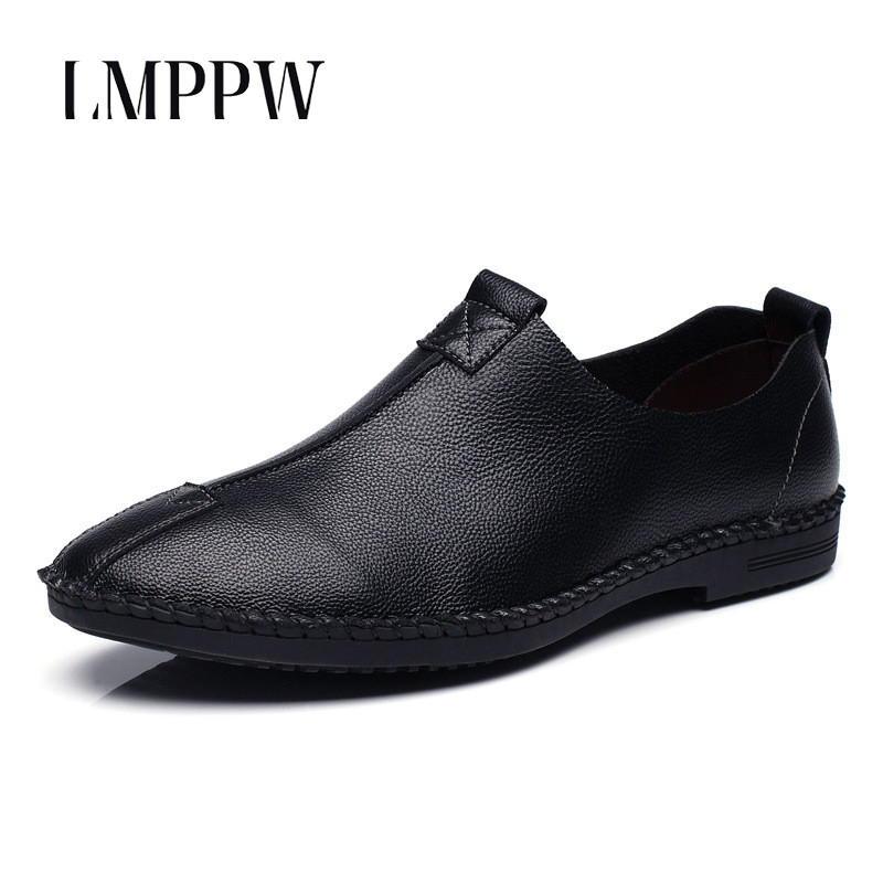 2018 Autumn New Men Shoes Genuine Leather Loafers Slip on Breathable Dress Shoes Moccasins Fashion Brand Soft Leather Flat Shoes