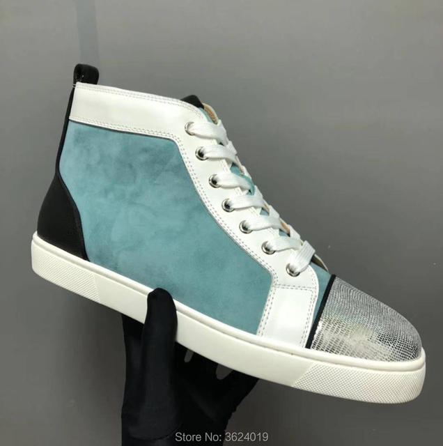 clandgz Men shoes Tiffany blue Lace-up Shoe High quality Red bottom Sneakers  Leather Loafers 2018 Male Footwear Spring Autumn 072e3eb0b