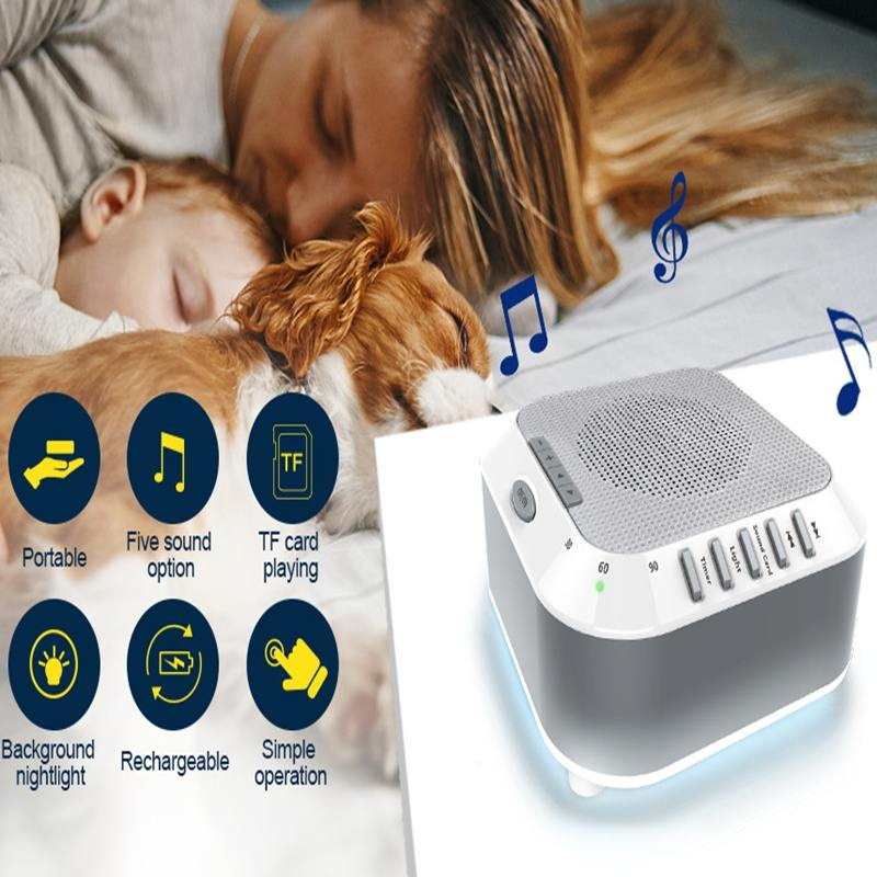 1X Silver Noise Baby Sleep Machine Soothers Sleep Helper With Nature Music Sound Machine For Sleep Relax USB Rechargeable