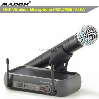 Darmowa wysyłka HOT sprzedaży PGX24 BETA58A profesjonalny mikrofon bezprzewodowy SYSTEM wydajność biegów mikrofon bezprzewodowy tanie i dobre opinie MADON Mikrofon ręczny Dynamiczny Mikrofon Scen Mikrofon Bezprzewodowy Nadajnik Zestawy Dookólna wireless