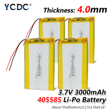 лучшая цена 1/2/4x 3.7V 405585 PLIB Polymer Lithium Li Ion Li-po Rechargeable 3000mAh Battery Durable For Tablet Pc Power Bank E-book