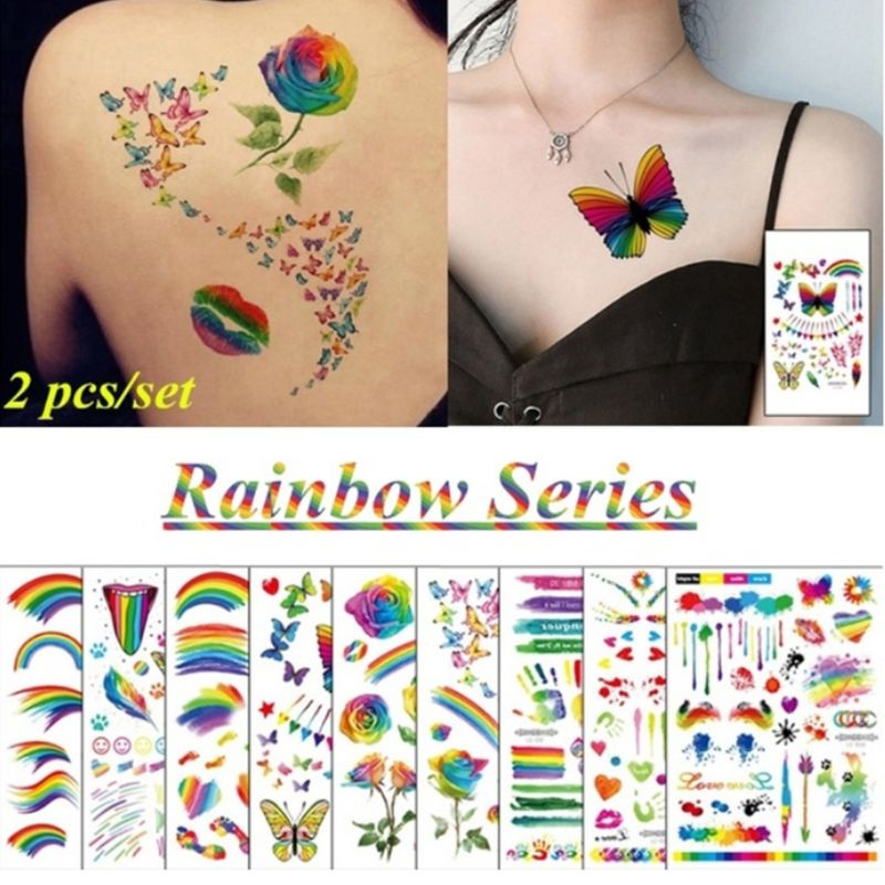 Disposable Rainbow Body Tattoo Stickers Gay Pride Parades Celebrations Waterproof Cool Stripe Love Floral Beach Party Supplies