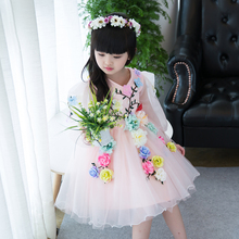 4-13yrs New Arrival Spring cute flower Girls Dress sequined mesh Girl Clothing Long Sleeves Princess Dresses Girl Costume Dress