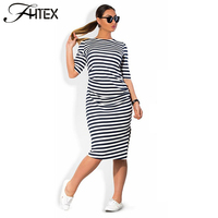 Women Plus Size Shift Dress Fashion Elegant Brief Striped Half Sleeve Summer Casual Loose Party Sport