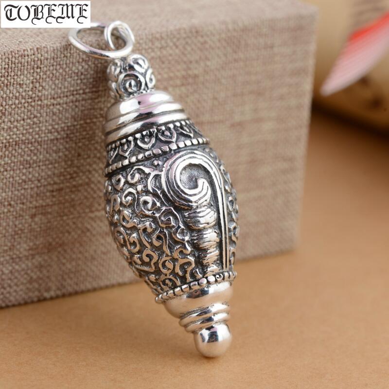 100% 925 Silver Tibetan Conch Gau Box Pendant Vintage Sterling Silver Buddhist Prayer Box Pendant Real Silver Gau Box Pendant-in Pendants from Jewelry & Accessories    1