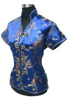 Summer Stylish Navy Blue Chinese Women Blouse Traditional Silk Satin Shirt Tops V Neck Clothing Size