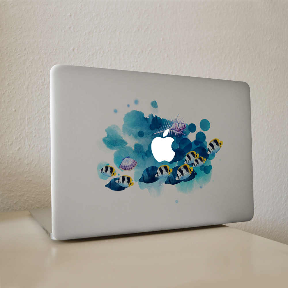 Graffiti-stijl vis in water Vinyl Decal Laptop Sticker Voor DIY Macbook Pro Air 11 13 15 inch Laptop huid