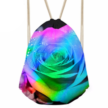 Women s Drawstring Bag Females Rainbow Flower Printing Packing Bags for Kids Girls Small Fashion Pouch