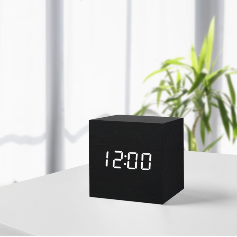 Multicolor Sounds Control Wooden Clock New Modern Wood Digital LED Desk Alarm Clock Thermometer Timer Calendar Table Decoration in Alarm Clocks from Home Garden
