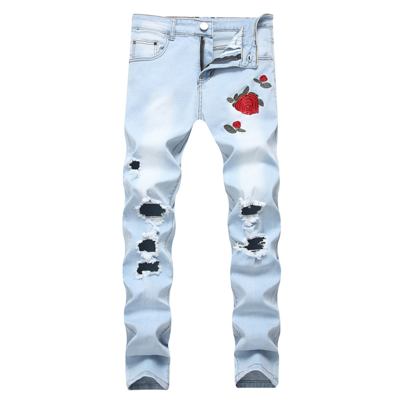 MORUANCLE New Fashion Mens Ripped Embroidered Jeans Trousers With Holes Distressed Denim Pants Slim Fit Stretchy Sky Blue