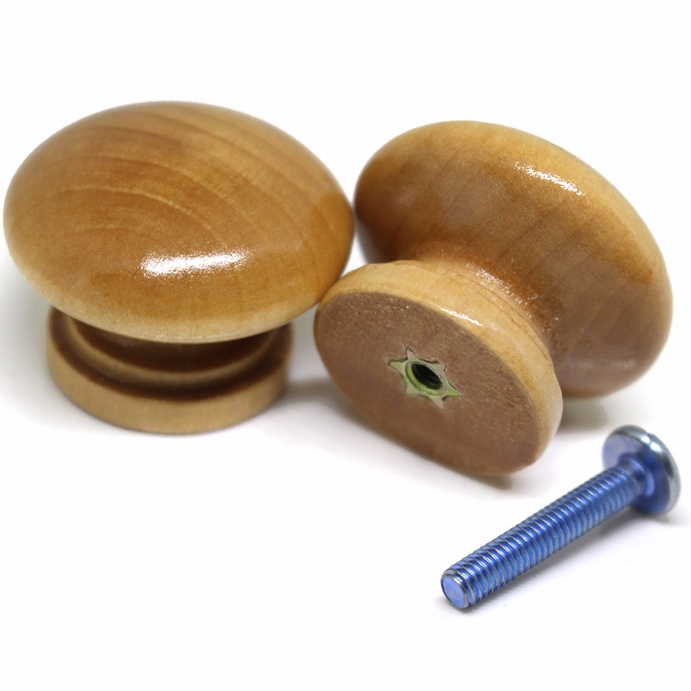 35mm High Quality Wood Handles for Drawer,Bedroom Wardrobe Bedside Cabinet Pull Furniture Door Smooth Knob Discount Trade Price image