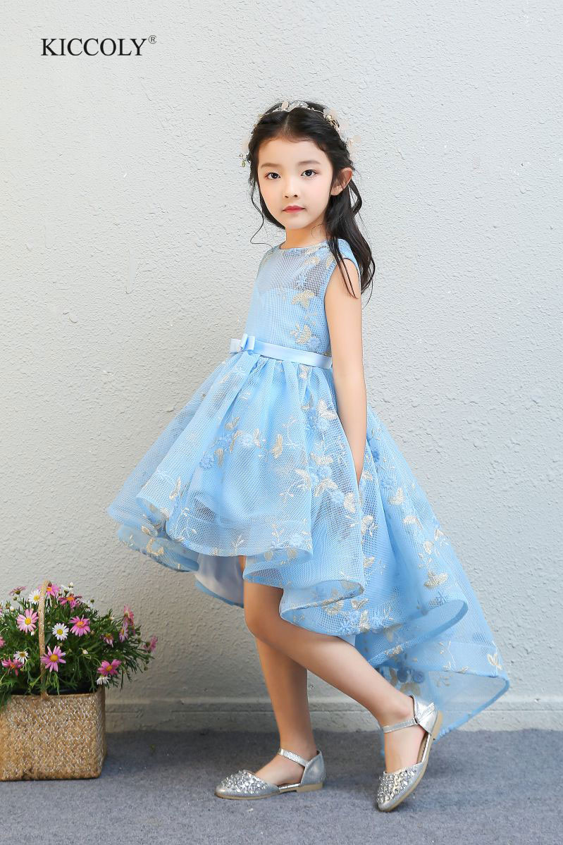 KICCOLY 2018 Kids Party Dress Of Girl Toddler Children Mesh Embroidery Trailing Dress Floral Girl Dress Baby Girl Princess Gown flounce mesh insert embroidery dress