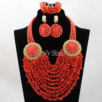 Splendid Indian Bridal Necklace Set Nigerian African Wedding Jewelry Set Real Coral Beads Jewelry Set Free Shipping CJ703