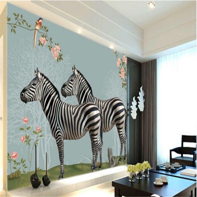 Beibehang Große benutzerdefinierte tapeten in handgemalte wald zebra ...