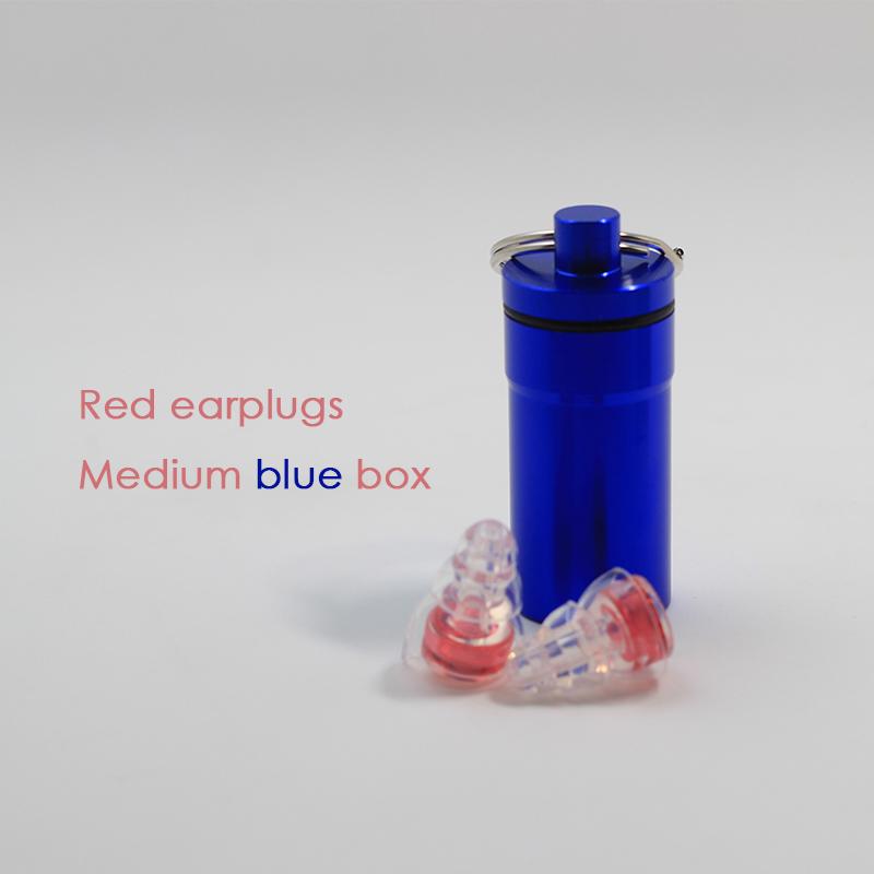 Red earplugs + Medium blue box