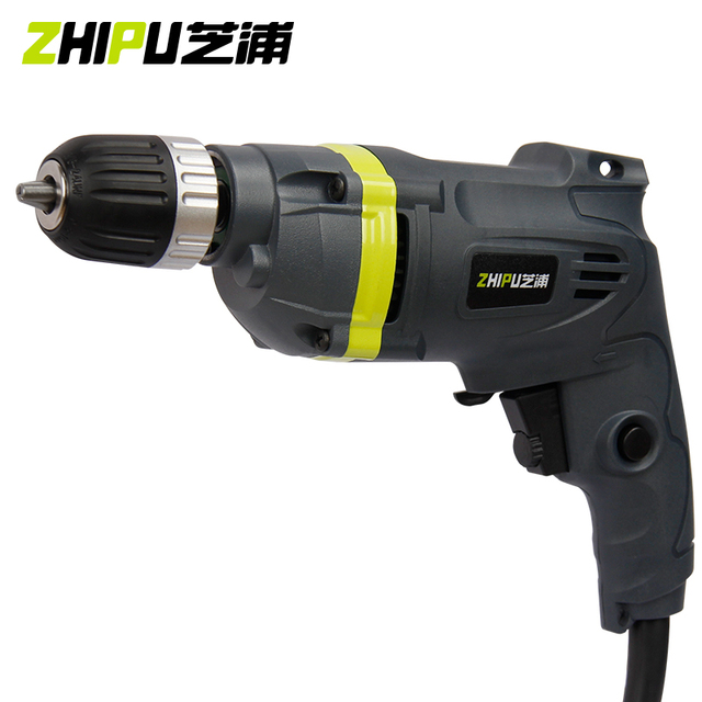 ZHIPU Electric Drill Household Hand Drill 220V Adjust Speed Multi-purpose Impact Drill Hammer Screw Driver Bits Power Tools 1