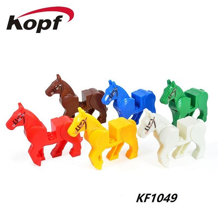 KF1049 Singel Sale White Red Blue Yellow Green Brown Horse Game of Thrones Dolls Bricks Building Blocks Model Toys For Kids ...