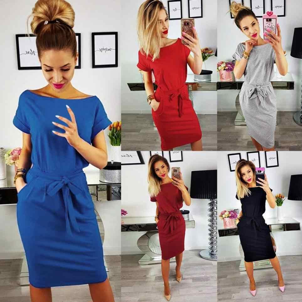 Summer Dress 2018  Women Casual Vintage Dress Bandage Bodycon Short Sleeve Dresses Sundress vestido Dresses Sundress Slim 7.3#YL