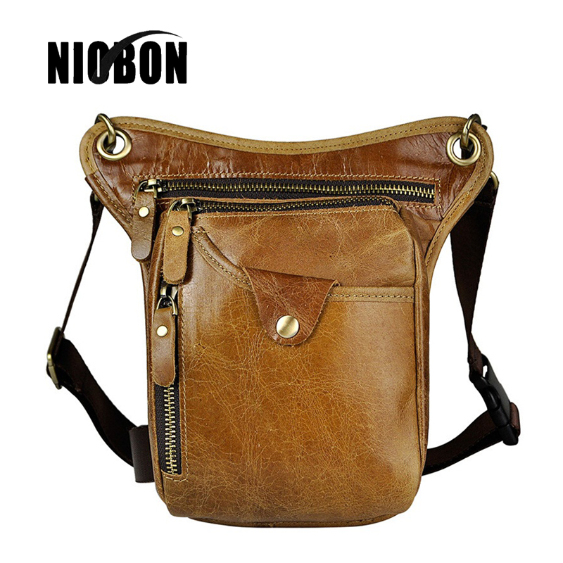 Niobon Genuine Leather Waist Packs Fashion Man Travel Belt Bag Phone Pouch Bags Crazy Horse Leather Shoulder Men Bag hot sale men canvas waist packs army green solid phone bag hip belt portable man wallet purse case pouch waist bags 2017