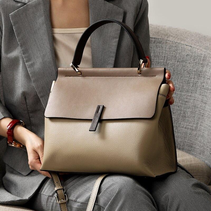 2019 New Brand Panelled Cover Crossbody Bag for Women Genuine Cow Leather Shoulder Bag Ladies Handbag