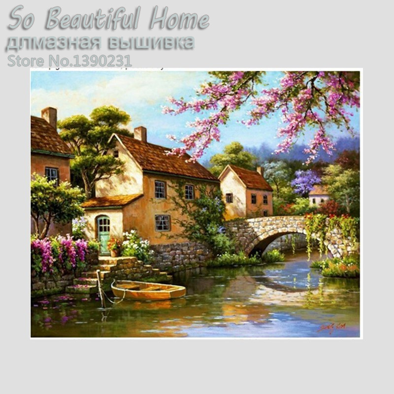 The edge of the village flowers river diamond mosaic painitingDiamond embroidery scenic cross stitch crystal square sets SH5042
