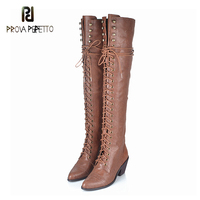 Prova Perfetto Over The Knee Boots 2017 Winter Buckle Front Lace Up 6cm High Heel Martin Bota Vintage Leather High end Quality