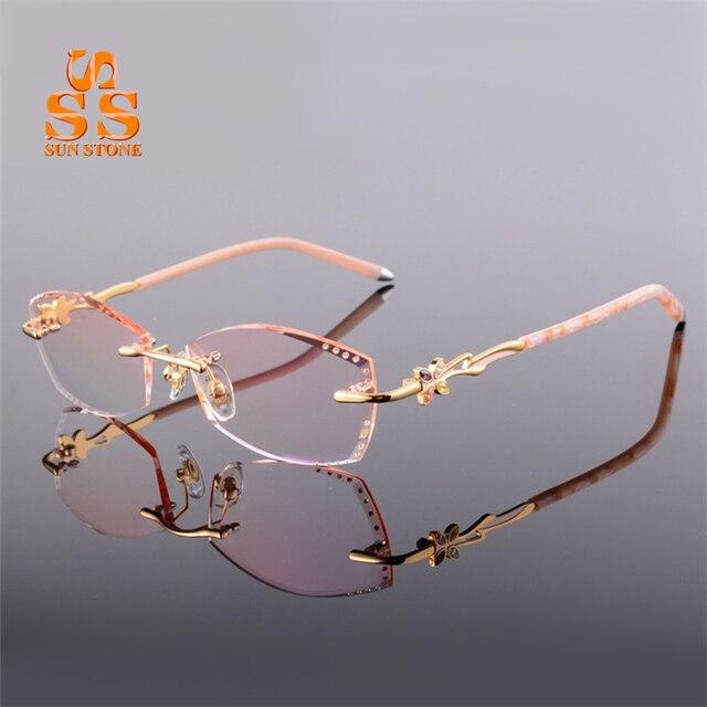 Высококлассные женщин Элегантные Оправы Оптических Стекол С Диоптрий Алмазные Градиентные Очки Для Близорукости или Дальнозоркости F135