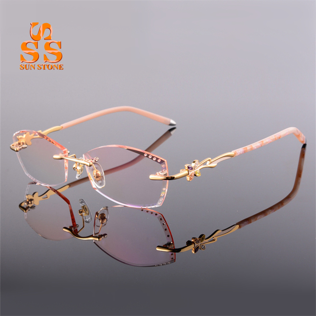 Upscale Women's Elegant Rimless Optical Glasses With Diopter Diamond Cutting Gradient Eyeglasses For Myopia or Presbyopia F135