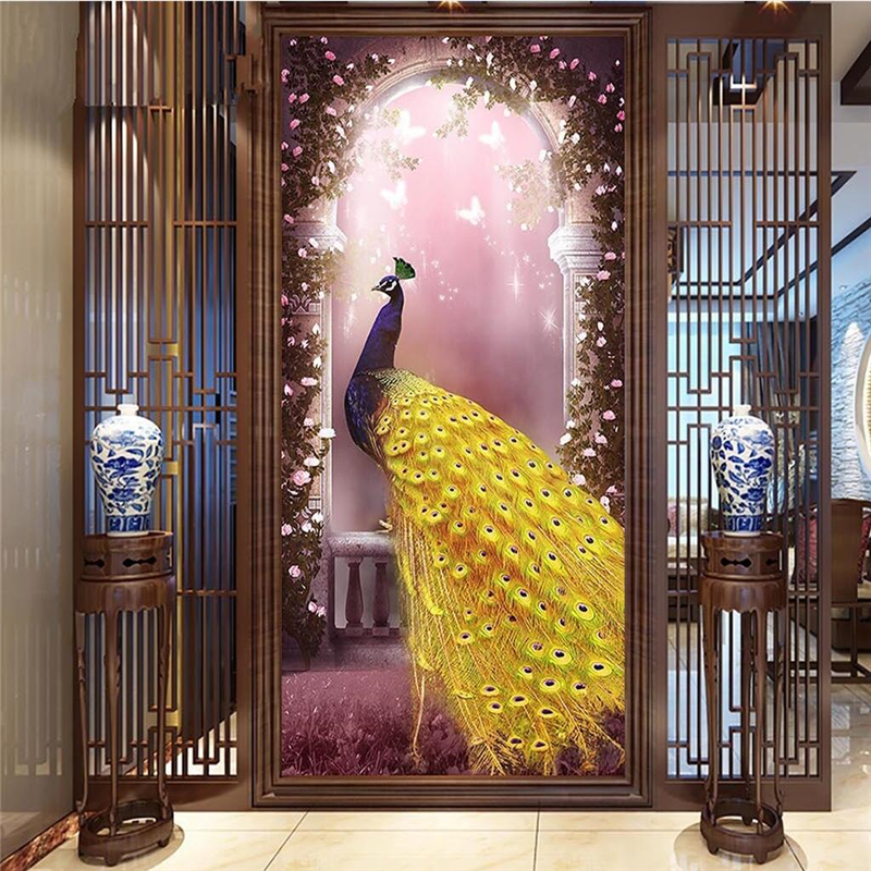 Us 8 85 41 Off Beibehang Wallpaper Mural Wall Sticker Aesthetic Romantic Dream Peacock Arcade Background Wall Papel De Parede In Wallpapers From