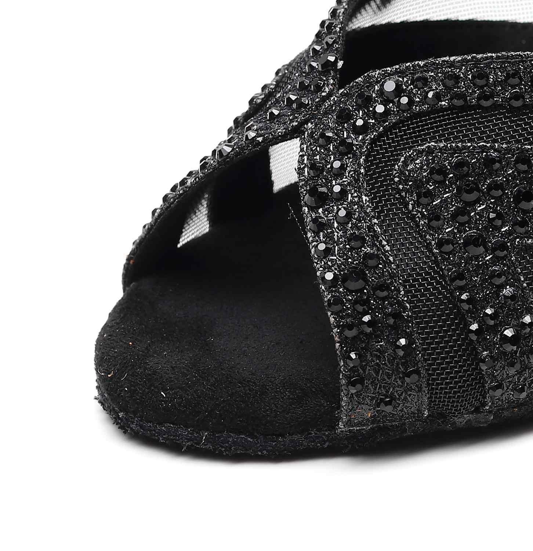 Salsa caz balo salonu Latin dans ayakkabıları dans kadın standart inek taban beyaz Rhinestone Feminino yaz sandalet