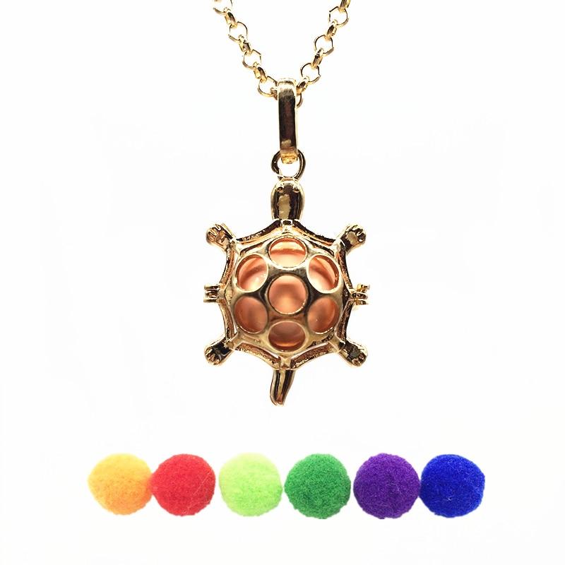 1pc Gold Color Turtle Tortoise Design Copper Mexico Bola Cage Locket Essential Oil Aroma Fragrance Diffuser Pendant Necklace