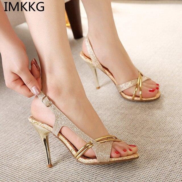 Women Sandal Thin High Heels Sandals Gold Ladies Summer Shoes Gladiator  Heels open toe Hollow Out Bling Glitter a738 e248a6007289