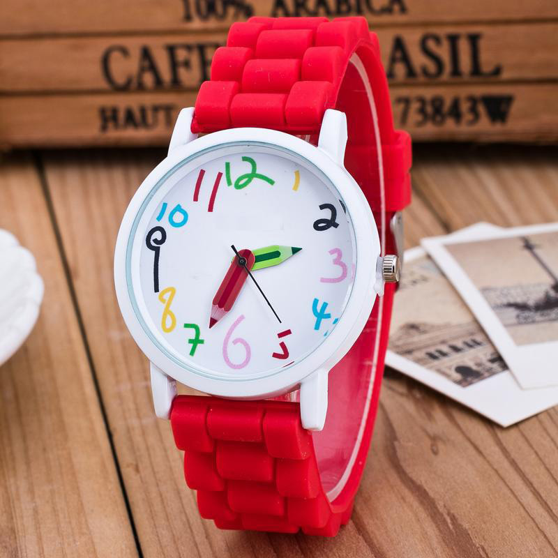 Silicone Watches Children Pencil Pointer Student Watch Quartz Wristwatches Gift Watches LL@17