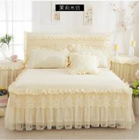 Beige Princess Lace Bedspread Bed Skirt 1/3pcs Ruffles bedding Bed sheet Cotton Pillowcase Home Decorative Twin/Queen/King Size