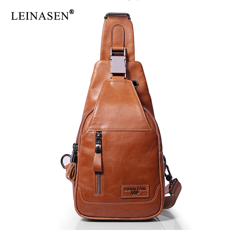 Genuine Leather Men's Casual Shoulder Crossbody <font><b>Bags</b></font> High Quality Travel Chest Pack Casual Zipper Office Messenger <font><b>Bags</b></font> Hot Sale image