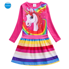 JUXINSU Toddler Cotton Girls Long Sleeve Dresses Unicorn Dress Rainbow Pony Cartoon Autumn Winter Girl Child Clothing 1-7 Years