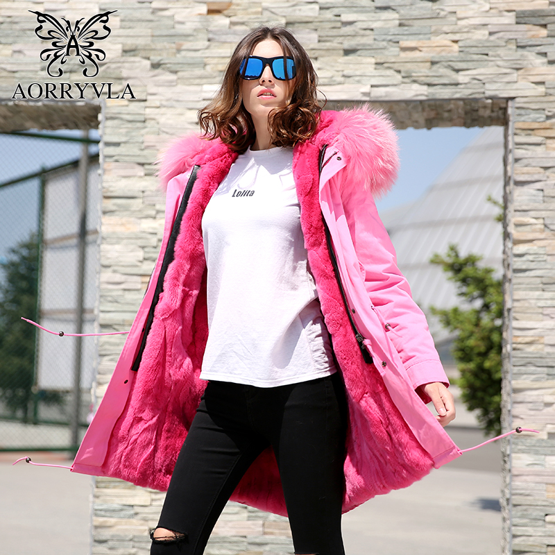 AORRYVLA Pink Fur Parka Women Winter 2017 Real Rabbit Fur Liner With Raccoon Fur Collar Hooded Long Length Casual Female Coat 2017 winter new clothes to overcome the coat of women in the long reed rabbit hair fur fur coat fox raccoon fur collar