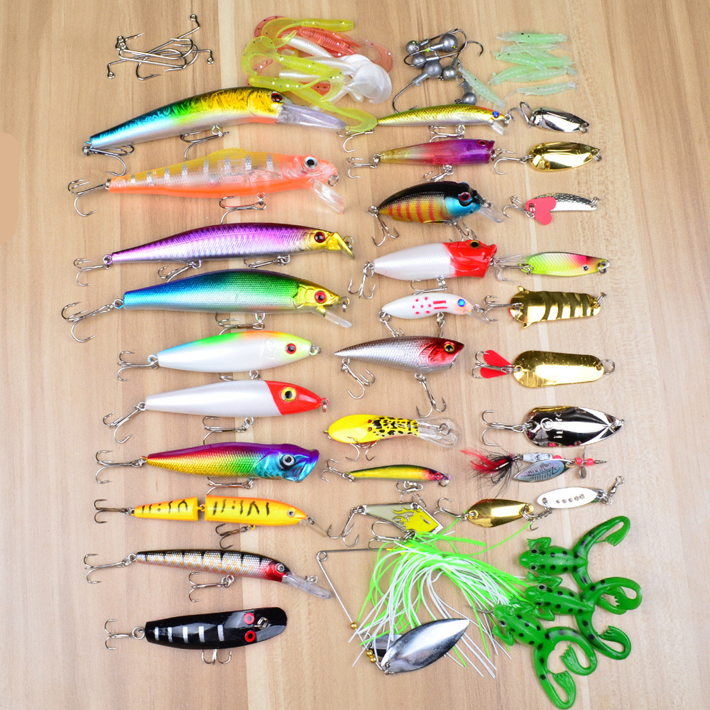 купить Hot sales  SUNLURE 69PCS Plastic Fishing Lures Set of Assorted Fishing Bait Fishing Tackle with Big 2-Layer Retail Box недорого