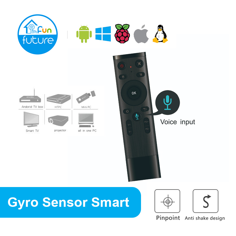 Q5 2.4G RF Gyro Sensor Smart Remote Control Voice Control Wireless Air Mouse with Microphone for Android TV Box Mini PC