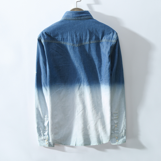 Vintage Gradient Color Denim Long Sleeve Shirt  1