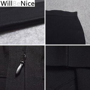 Image 5 - WillBeNice jupe moulante pour femmes, noire, taille haute, fendue à larrière, Sexy, mi mollet à bandes, crayon à bandes, vente en gros, 2019