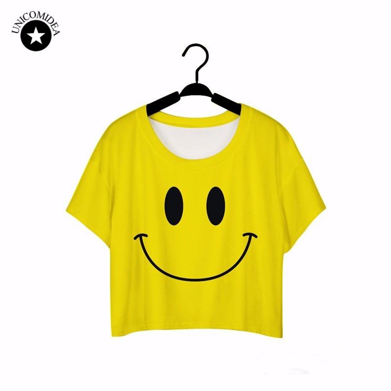 2017 Top Verano Divertido Corto Camisetas de los Tops de Las Mujeres 3D Emoji QQ