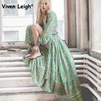 Viven Leigh Vintage Hippie Robe Dress Sexy Deep V Lacing Tassel Boho Floral Print Ethnic Dressses