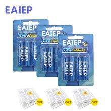 EAIEP 12 шт. AA Батарея Перезаряжаемые батареи 1,2 В AA 2100 мАч Ni-MH предварительно заряжен Батарея 2A Baterias + 3 шт. Батарея хранения Коробки