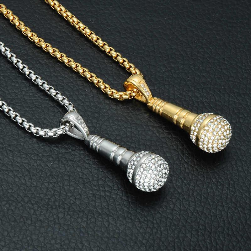 Ice Out naszyjnik łańcuch mikrofon wisiorek mężczyźni/kobiety ze stali nierdzewnej kryształki w kolorze złota najlepszy przyjaciel biżuteria Hip Hop