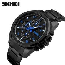 2017 мужская SKMEI Luxury Brand Аналоговый Кварцевые Часы Человек 5ATM Водонепроницаемый Мода Повседневная Спортивные Часы Мужчины полный стали Наручные Часы