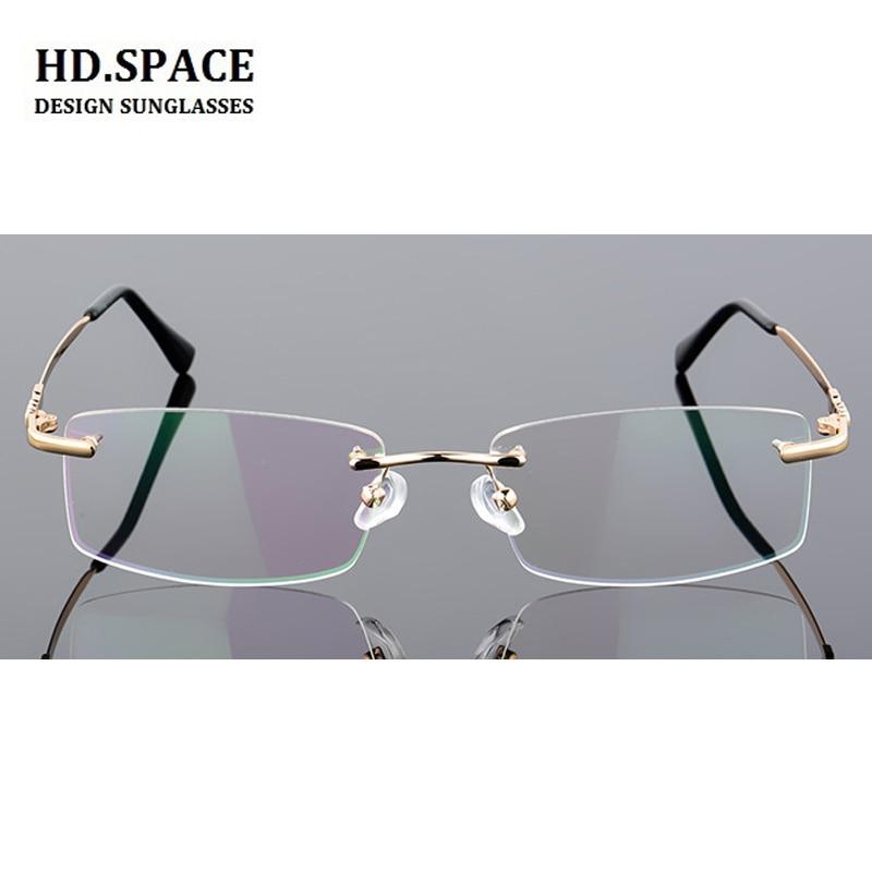 US $14 1 40% OFF|HD space Super Light myopic glasses Frame Eyeglasses Men  Women Rimless New Frameless Frame Myopia Glasses 100 to 600 degrees-in  Men's